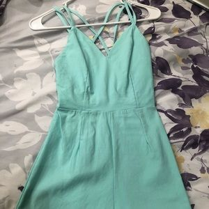 Mini Backless Romper in Mint Green